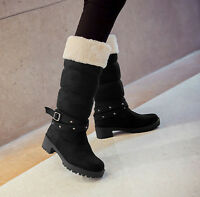 Women's Winter Snow Warm Boots Mid Calf Pull On Fur Chunky Low Heel Shoes Ske15
