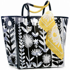 BRIGHTON XL VERA GARDEN BLACK / WHITE FLOWERS VINYL TOTE WITH YELLOW SCARF ~ NEW
