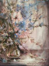 Bouquet de fleurs Denyse BERTRAND Artiste Bordeaux 1921-2011 huile toile