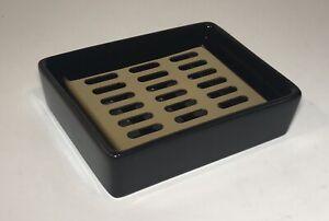 Ceramic Bath Shower Soap Dish Holder W/ Drain Plate Black & Brass/Gold Color NEW