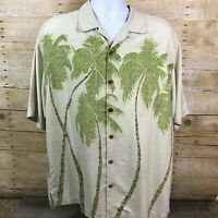 Tommy Bahama Relax Mens L Hawaiian Silk Camp Shirt Cream Green Brown Palm Trees