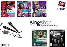 PS3 Singstar Juego + + x2 oficial micrófonos con cable USB-hacer su selección