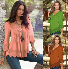 New Lady Women Long Sleeve TopsT-Shirt Lace Cotton Blouse V-neck Leisure Clothes