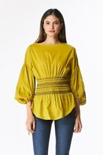 Women's Sexy Blouse Bell Bottom Sleeves Top Casual Tshirt Red, White, Mustard
