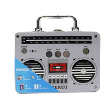 Stereo Boombox Cocktail Bar Set with Flask, Shot Glasses & Travel Case