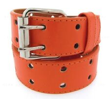 Mens Womens 2 Double Holes Dress Casual Leather Belt 2Prong Roller S/M/L/XL BIG&