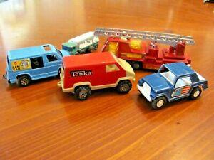 5 VINTAGE TRUCK VANS & FIRE ENGINE TONKA, TOOTSIE TOYS USA ,LESNEY ENGLAND AS IS