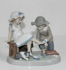 """Lladro """"Try This One"""" #5361 Figurine ~ Boy W/Girl Trying On Shoes ~ Perfect ~"""
