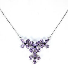 GENUINE AAA PURPLE AMETHYST PEAR FACET STERLNG 925 SILVER FLOWER NECKLACE 18