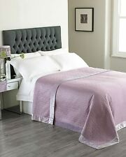EMBROIDERED GEOMETRIC HEATHER PURPLE QUILTED BEDSPREAD THROW 240 X 260CM