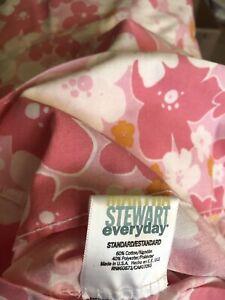 Vintage Martha Stewart Twin Fitted Flat pillowCase sheet set Flower power pink