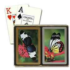 CONGRESS BUTTERFLIES BRIDGE PLAYING CARDS 2 DECK SET JUMBO INDEX NEW IN BOX