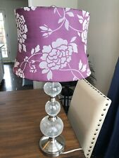 Pre-Owned Purple Flower Fabric Lamp with Clear Crackle Design
