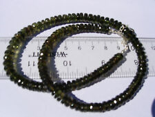 139 carats of checkered cut beads about 6x2.5mm MOLDAVITE necklace 18 inches
