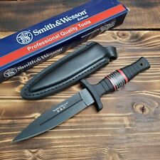 Smith & Wesson HRT Black Handle Dagger Style Fixed Blade Tactical Knife SWHRT9LB