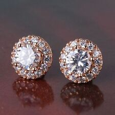 18K Rose Gold Filled Solitaire Stud Earrings Made With Swarovski Crystals