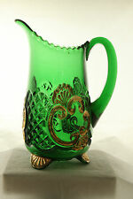 EAPG RIVERSIDE GLASS EMERALD GREEN GOLD DECORATED CROESUS WATER PITCHER TANKARD