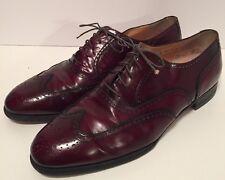 SALVATORE FERRAGAMO Mens Burgundy Wingtip Oxford Dress Shoe Sz 10 EEE Extra Wide