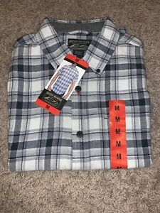 NWT Men's Gray Plaid Grizzly Mountain MEDIUM Button-Up Short Sleeve Woven Shirt