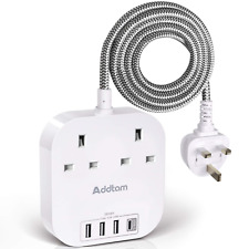 Extension Lead with USB C Ports, Power Strips with 2 Way Outlets 4 USB 4.5A C 3