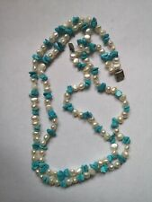 Vintage Real Baroque Pearl and Turquoise  necklace Sterling silver clasp.