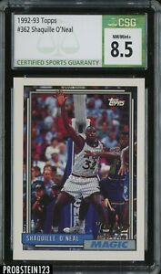 1992-93 Topps Shaquille O'Neal CSG 8.5 NM-Mint+ Rookie RC #362