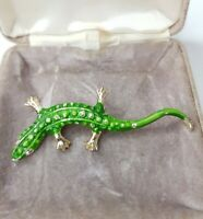 Rare Vintage Green Painted Lizard Gold Tone Brooch Animal Gift Costume Jewellery