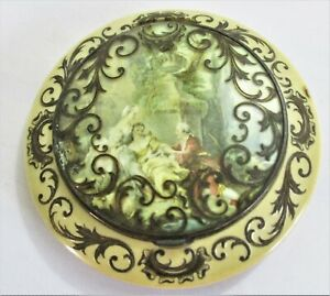 Antique French Celluloid Powder Compact with Classical Garden scene in Lid