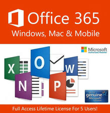 INSTANT Microsoft Office 365 2016 Lifetime Windows Mac & Mobile 5 Device License