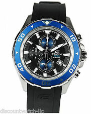 Casio EDIFICE EFM501-1A2 Men's Black/Blue Chronograph Watch 200M NEW Resin Band