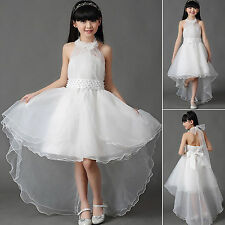 Girls White Bridesmaid Flower Party Pearl Wedding Dress Kids Dresse Age 2-13year 130cm