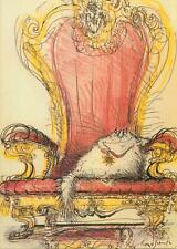 Postcard Ronald Searle comic animals cat medal star throne chair gold king  art