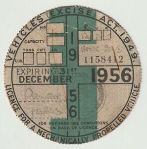 Vintage Vehicle Excise Tax Disc Dec 1956 Private MORRIS car NMK 293