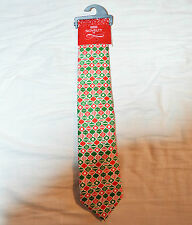 M&S Mens Red & Green Christmas Bauble Print Tie BNWT