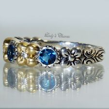 Barbara Bixby London Blue Topaz Flower Sterling Silver 18k Gold Ring Size 6