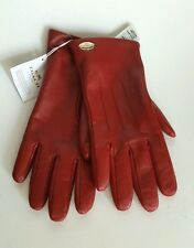 Coach Red Leather Gloves Ladies Size 6.5  New with Tags USA Seller