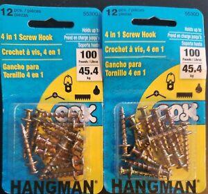 HANGMAN #55300 4-IN-1 SCREW HOOK, 2-PACKS OF 12  It#10011