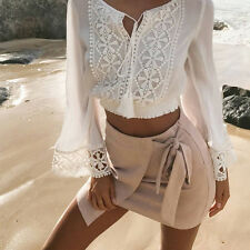 Womens Lace V Neck Crop Top Long Sleeve T Shirt Summer Loose Casual Tee Blouse