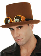 Brown Top Hat With Steampunk Glasses Costume Accessory