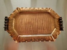 Copper Tray Hand Hammered and Forged with Wood Handles 18.75