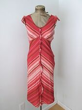 VGC J Crew Brick Red Rose Pink Diagonal Strip 100% Cotton Dress Ruffle Trim XS