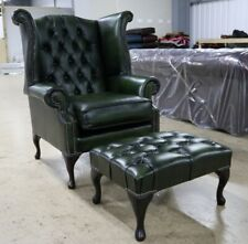 GEORGIAN CHESTERFIELD QUEEN ANNE HIGH BACK WING CHAIR GREEN LEATHER FOOTSTOOL