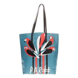 Tote Shoulder Bag Large Saffiano Panel Parrot Print Slouchy Design Open Top