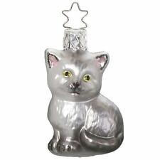 Kätzchen 6cm silbergrau Miniatur Glas Weihnachtsschmuck aus Lauscha