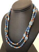 Native American Denim Lapis 2 Strand Sterling Silver Necklace