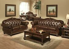 Formal Living Room Traditional Luxurious  Leather 2pc Sofa Set Sofa & Loveseat