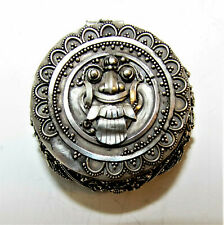 Sterling silver vintage antique ornate Mexico Aztec Mayan pill snuff box