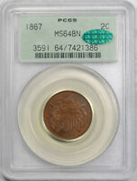 1867 2C Two Cent Piece PCGS MS 64 BN Uncirculated OGH CAC Approved