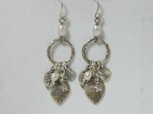 Unique Sterling Silver SHABLOOL dangle White fresh water pearls Earrings