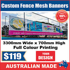 Custom Outdoor Fence Mesh Banner Sign Wrap - 3300mmW x 900mmH - Australian Made